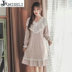 JRMISSLI Nightgowns Women Summer New V-Neck Lace Retro Princess Long Sleeping Dress Cotton Sleepwear Female Lounge