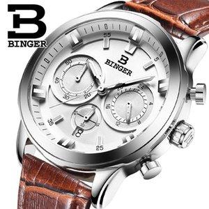 2017 Швейцария БИНГЕР бренд класса люкс Relogio-это Masculino кварцевые полный нержавеющей часы хронограф водолаз glowwatch B9011-3