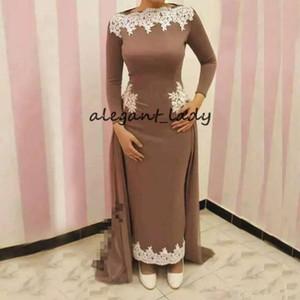 Элегантный длина лодыжки мусульманские вечерние платья с юбкой лодка шеи с длинным рукавом аппликации Abric Дубай пром платье оболочка красный ковер платье