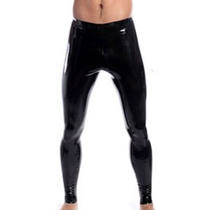 High Stretch Mens Black Faux Leather látex Lápiz Leggings Muy delgados Wetlook Bondage Pants Gay Male Fashion Slim lencería sexy
