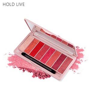 HOLD LIVE 8 Cores Glitter Eyeshadow Palette Com Pincel Pêssego Cor Vermelha Nua Pigmento Matte Sombra de Olho Para A Menina Kit de Maquiagem Coreano