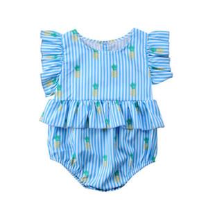 Yenidoğan Bebek Kız Ananas Baskı Tulum Sinek Kollu mavi Çizgili Tulum Kıyafetler Giysileri Sevimli Yaz Rahat