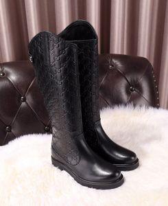 Botas das mulheres clássicas de moda confortável sapatos de alta qualidade da marca sapatos de couro de alta designer botas pretas