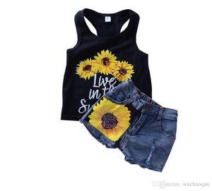Sommer-Baby-Kleidung-Blumen-Weste Jeans Shorts 2Stk Set Outfits Kid Lässige Kinder Kleidung süße Mädchen Sunflower Boutique Kostüm Kleidung