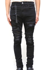 New men Leather Ribbed Patches Distressed Skinny jeans