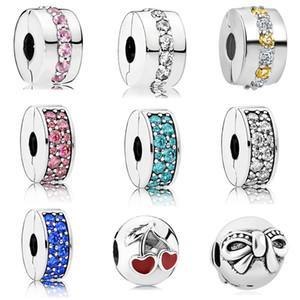 Livraison gratuite MOQ 20pcs argent shinning chemin élégance spacer clip bricolage perle fit pandora européen style bracelet collier D006