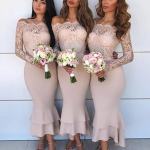 Off Shoulder Wedding Party Dresses Sexy Lace Long Sleeves Tiered Mermaid Bridesmaid Dresses Fashion Ankle Length Prom Dress Cocktail Dress