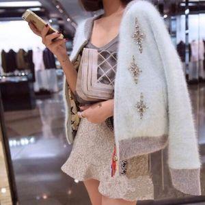 HAMALIEL Korean Autumn Winter Women Knitting Sweater Cardigan Coat Mink Cashmere Diamonds Thick Warm Zipper Jacket Coat