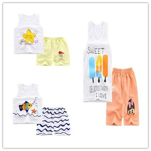 summer section Pajamas for boys girls children Cartoon sleeveless Tank+shorts Cotton nightwear suits kids sleepwear clothing
