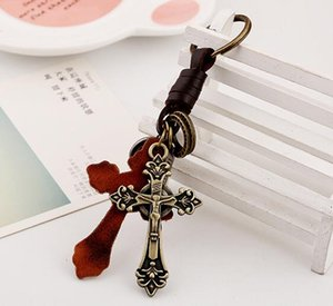 DHL Mens Perfect Leather Key Chains Alloy Cross Pendant Keychains Vintage Cowhide Braid Key Rings Fashion Bag Accessories ny