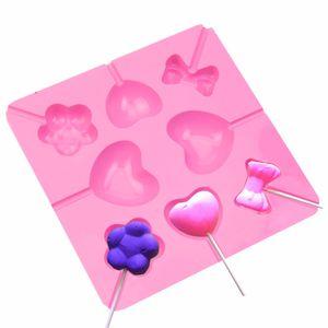 Belle Bowknot Coeur Fleur En Silicone En Forme De Gâteau Au Chocolat De Bonbons Lollipop Lolly Coeur Bowknot Cuisson Au four Moule À Glace C42