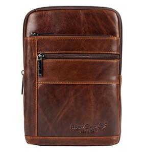 Hommes en cuir véritable première couche peau de vache de haute qualité Sling Chest Bag Voyage Vintage Cross Body Messenger sac à bandoulière