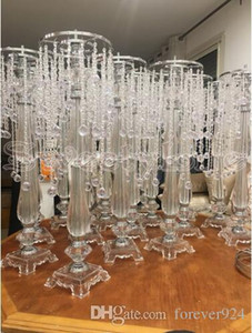Wholesale 73cm Tall crystal Wedding Centerpiece acrylic bead strands wedding decoration flower stand table chandelier decor