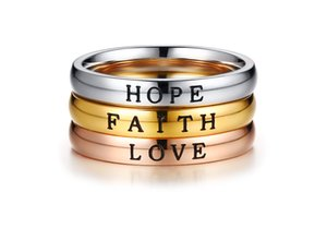 Faith Love Hope Stainless Steel Rings for Women Stackable Band Fashion Ring