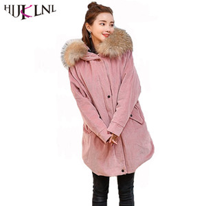 HIJKLNL Corduroy Jacket Womens Winter Down Jacket 2017 Real Raccon Fur Thick Long Duck Down Coat Detachable Pike Parka QN669