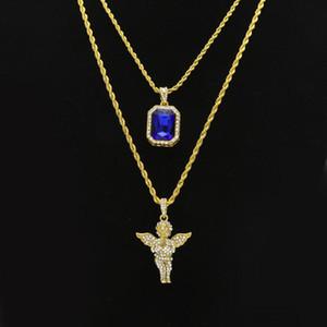 Der Hip Hop-Schmuck der Männer stellt Miniquadrat-Rubin-Saphir-vollen Kristalldiamant-Engelsflügelanhänger Goldkettenhalsketten für männlichen Hiphop-Schmuck ein