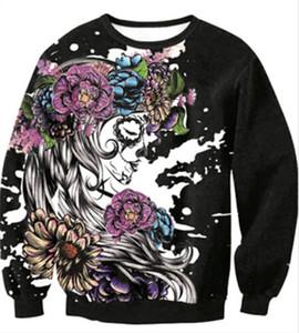 꽃 해골 해골 프린트 풀오버 까마귀 연인 루즈 캐주얼 긴팔 스웨터 Tshirt 남성 여성 Holloween 의상 스웨터