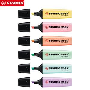 BOSS Original Highlighter Pastels Marker Pen 6 Colores pastel de moda Punta de cincel + 5 mm Fluorescente Vista clara Resaltador