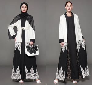 2020 Design Muslim Womens Kaftan Abaya Islamic Dress V-Neck Long Sleeve Chiffon Floor Length Womens Hijab Clothing Plus Size