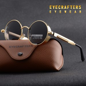 Toptan-Altın Metal Polarize Güneş Gözlüğü Gotik Steampunk Güneş Gözlüğü Mens Womens Moda Retro Vintage Kalkan Gözlük Shades 372 Kırmızı