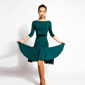 3Color Green Black Adulto / Girl Latin Dance Dress Tango de salsa Cha cha Salón de Baile Práctica de Competencia Vestido de Baile Vestido Sexy V-Collar Irregular