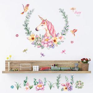 يونيكورن الجدار ملصق لغرفة النوم غرفة الطفل الديكور الكرتون الجدار ملصق ملصقات PVC C5531