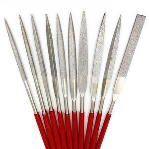 3X140mm electroplate diamond needle files 10pcs sets for plastic glass jade flat triangular semicircular plate assorted files tool