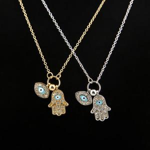 La main de Fatima et Turkish Evil Eye nouvellement créative chaîne de bijoux de mode Blue Eye Alliage Pendentifs Collier