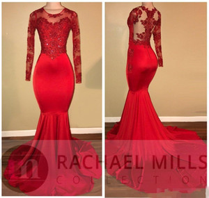 2018 Vintage Sheer Long Sleeves Red Prom Dresses Mermaid Appliqued paillettes nero africano ragazze abiti da sera vestito dal tappeto rosso