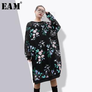 [EAM] 2018 nova primavera em torno do pescoço de manga longa preto oco out bordado malha impresso solto tamanho grande vestido de maré moda feminina