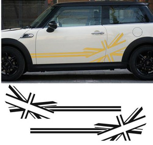 2pcs Union Jack Drapeau Côté Stripes Porte Côté Sticker Autocollants pour BMW MINI Cooper S Countryman R60 F60 F55 F56 R56 Paceman R61 R50
