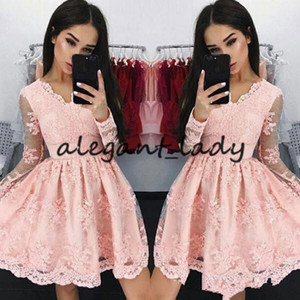 2018 New Cheap Sweet Pink V neck Short Homecoming Dresses Long-sleeves Lace Applique A-line Mini Party Prom Evening Dresses Custom Made