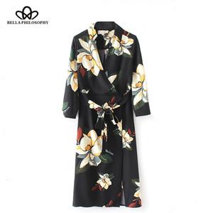 Bella Philosophy 2018 primavera donna a maniche lunghe abito casual moda stampa signore vestito a metà polpaccio scollo a V allentato telai femminili