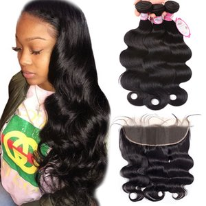 Malaysian body wave lace frontal with baby hair three bundles hair weave extensions Malaysian hair bundles with frontal