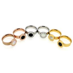 Rotonda Shell Anello Agata Romano Lettera Anello romano Top Donne numero oro rosa, oro, banda anelli anello di donne d'argento