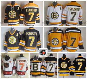 1980 All Star Boston Bruins Phil Esposito hockey jerseys 75 aniversario # 7 Phil Esposito Vintage Negro cosido camisas un remiendo