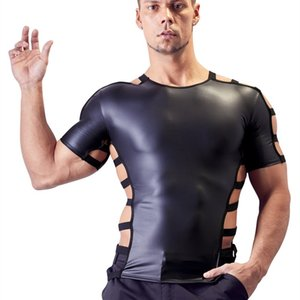 Homem Lingerie Sexy Tanques Exóticos Faux Leather Latex Gays Colete Erótico Homens Fetiche Colete Adulto Gothic Costume Night Club Wear