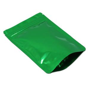 Verde 14x20 cm Doypack cremallera Mylar reutilizable Paquete Bolsa para el bocado caramelo del papel de aluminio del sello auto alimentos secos embalaje bolsas con cierre de cremallera