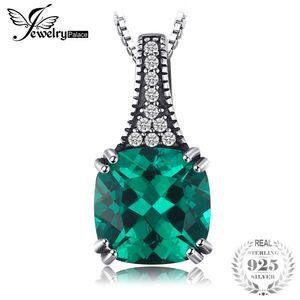 JewelryPalace Klassische 2.1ct Kissen Russian Simulierte Emeralds Anhänger für Frauen reale 925 Sterlingsilber-klassische Schmucksachen