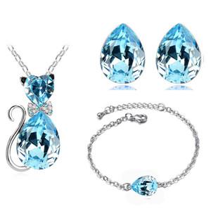 2017 bonita boda nupcial moda de verano 18KGP cristal austriaco catty catty colgante collar pendientes pulsera conjuntos de joyas 84575