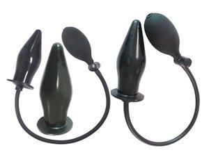 1 Takım Siyah Pompa Oynamak Şişme Anal Plug Genişletici Anal Plug Butt Plug Vibratör Anal Masaj Oyuncak Lavman Pompa Sistemi Yumuşak Kauçuk Siyah