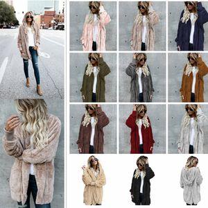 11 цветов женщины Шерпа толстовка с капюшоном пальто с длинным рукавом флис мягкий кардиган теплый женщины мода зима с капюшоном пальто AAA1030