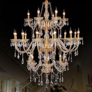 Morden 3 Katmanlı 24 Arms Büyük Altın Merdiven Uzun Lambalar Kristal Avize Aydınlatma Restoran Otel Salonu Villa Kolye Işıkları