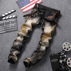 2018 Hombres Jeans Ripped Biker Hole Denim robin patch Harem Jeans rectos de bordado de punk rock para hombres Pantalones Jeans con alas rotas Alto