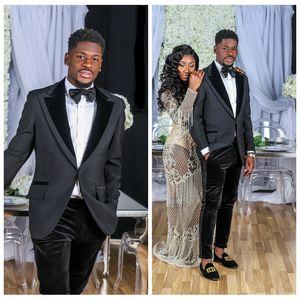 2018 New Dark Navy Jacket Wedding Tuxedos Slim Fit Custom Online Formal Lapel Suits With Black Velvet Pants Business Groom Suit Jacket+Pant