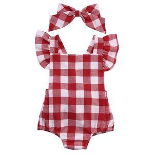 Bebê recém-nascido Macacão Infantil Criança Roupas Xadrez Branco Vermelho Romper Do Bebê + Arco Headwear Outfits Sunsuit 0-18 M Bebê Recém-nascido Meninas Macacões