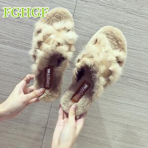 Kürk Terlik Kadın Yumuşak Taban pantufas de pelucia chinelo Kadın Ayakkabı Ev Terlik Kabarık Katır zapatos de mujer