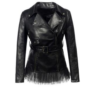 Rosetic Gothic Leder PU-Jacke Frauen-Spitze Faux Winter Herbst Motorradjacke schwarz Kunstleder-Mantel-Oberbekleidung Gothic Warm