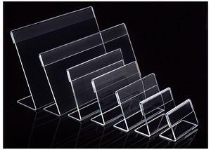 Vários Menor Tamanho T1.3mm Limpar Acrílico Plástico Sinal de Exibição de Papel Cartão de Etiqueta de Preço Titular da Marca L Em Forma de Suporte Horizontal Na Tabela 50 pcs