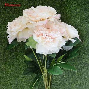 Cadılar bayramı Noel Yapay Şakayık Avrupa Güz Canlı 5 Kafaları Şakayık İpek Çiçek Gerçek Dokunmatik Düğün Gelin Buketi Dekoratif Çiçekler
